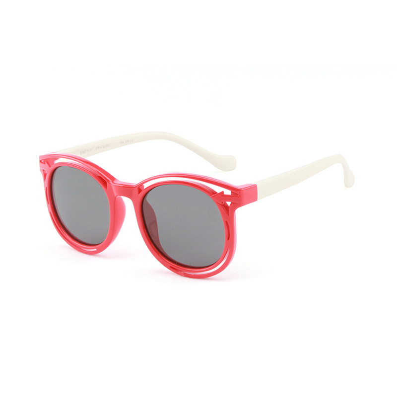 Kids Boys & Girls Anti-UV Protection Silicone Round Sunglasses White Frame