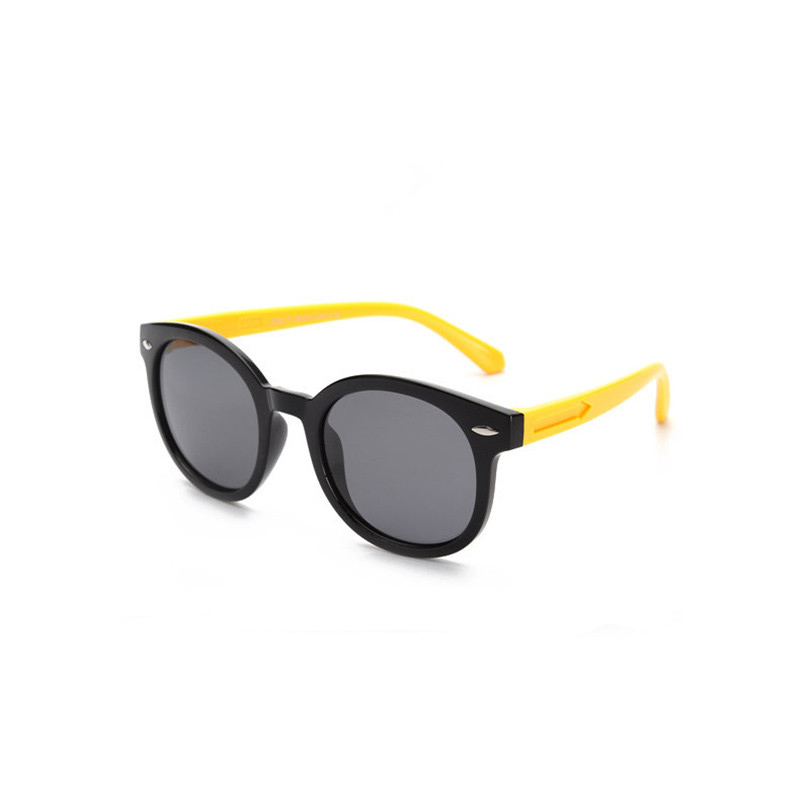 Kids Boys & Girls Tinted Glasses Silicone Sunglasses Yellow Frame