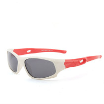 Kids UV Protection TPEE Rubber Polarized Light Silicone Sunglasses Red Frame