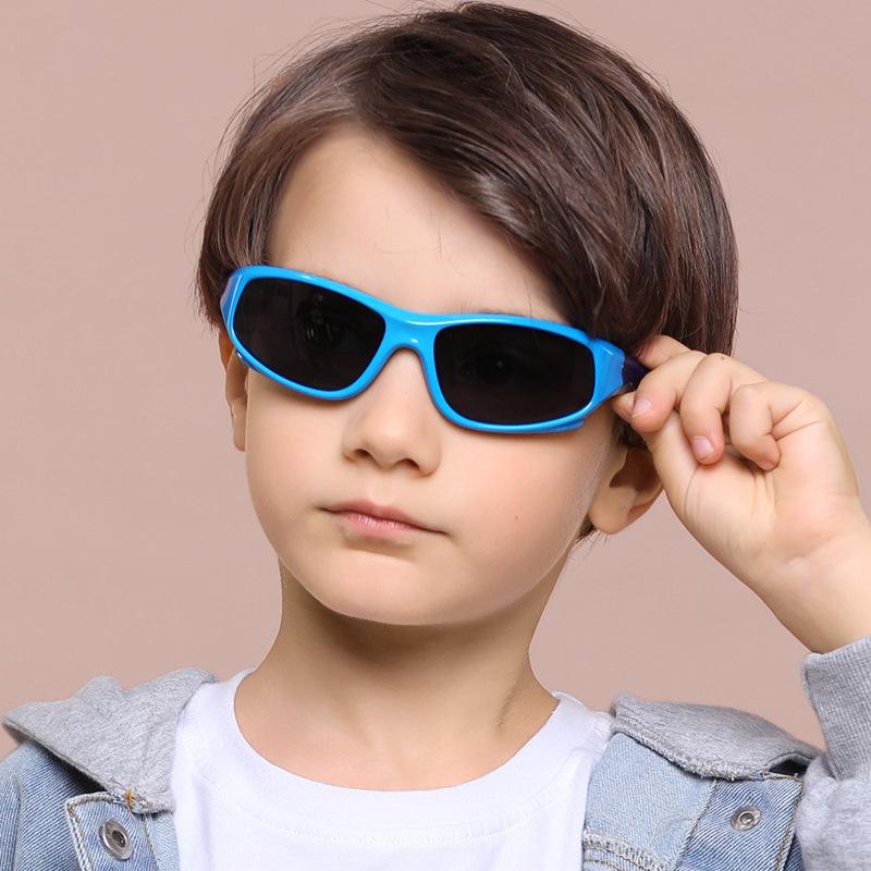 Kids UV Protection TPEE Rubber Polarized Light Silicone Sunglasses Dark Blue Frame