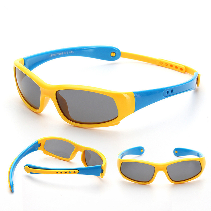 Kids Riding Sports Polarized Light Silicone Sunglasses Adjustable Frame