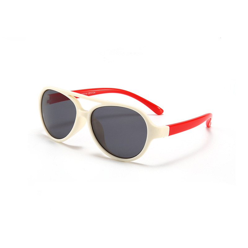 Kids Boys & Girls UV Protection TPEE Rubber Polarized Silicone Toad Sunglasses Red Frame