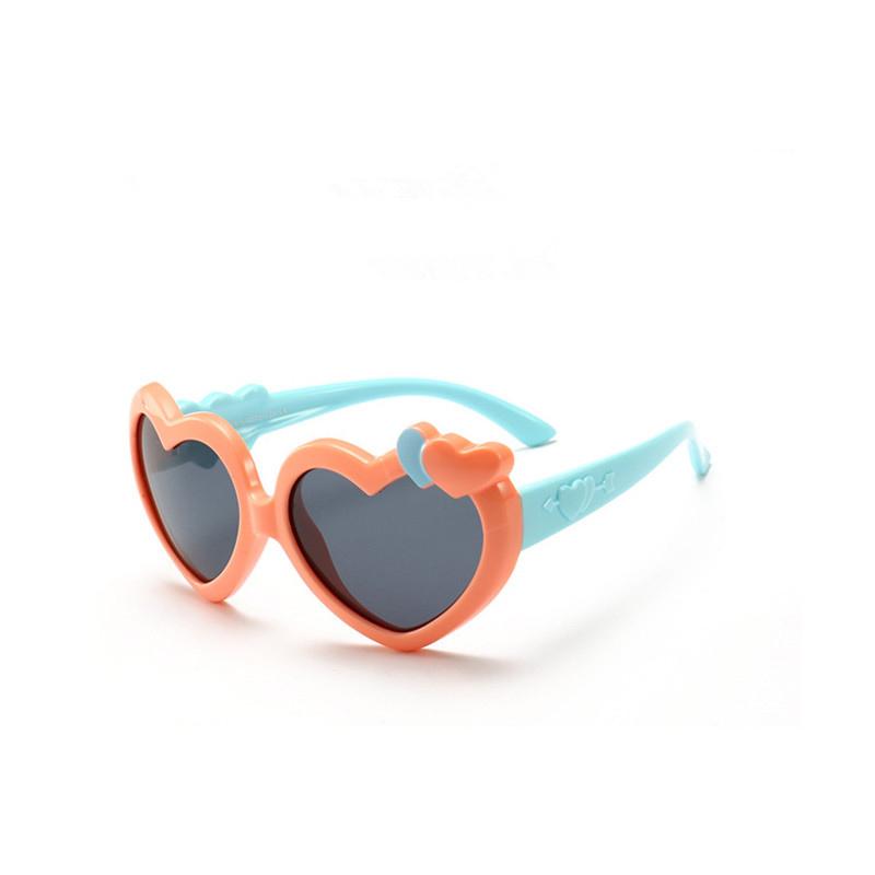 Kids Boys & Girls Heart Shaped UV Protection Silicone Polarizer Sunglasses