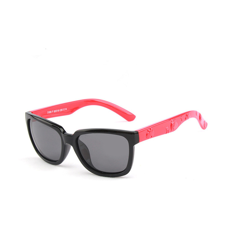 Kids Boys & Girls Anti-UV Protection Splicing Color Silicone Sunglasses Red Frame