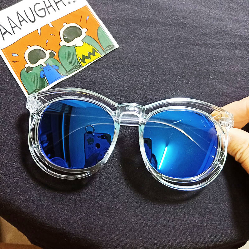 Kids Color Film Anti-UV Protection Fashion Sunglasses Blue Frame