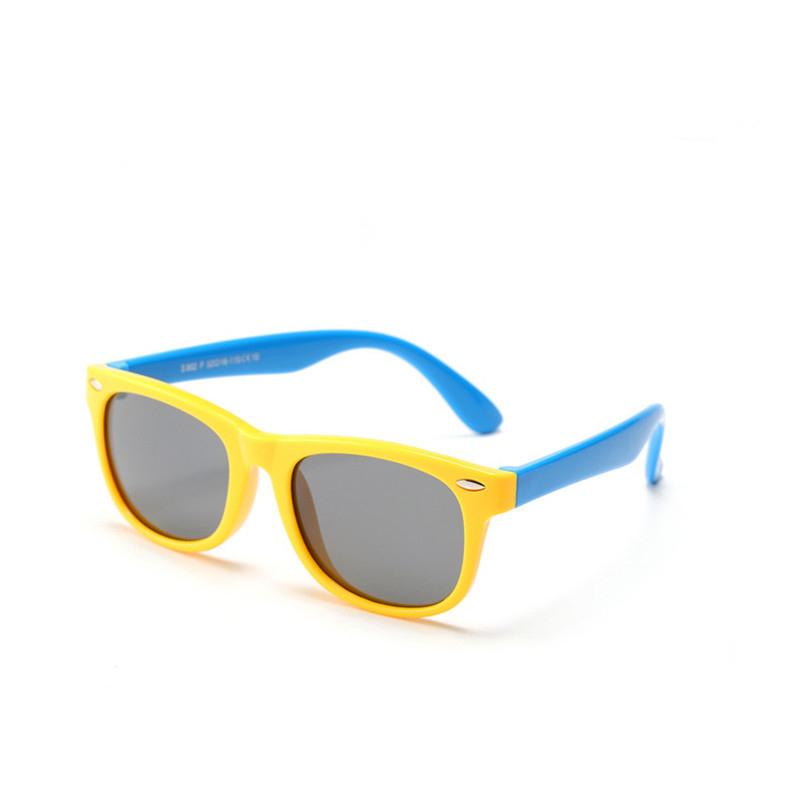 Kids UV Protection TPEE Rubber Polarized Sunglasses Blue Frame