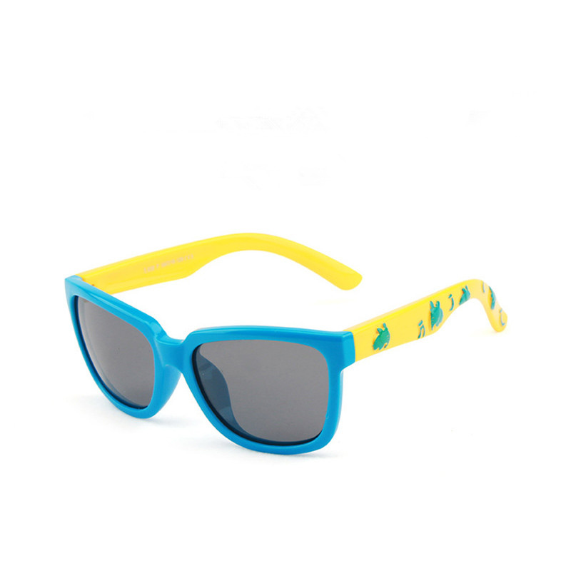 Kids Boys & Girls Anti-UV Protection Splicing Color Silicone Sunglasses Yellow Frame