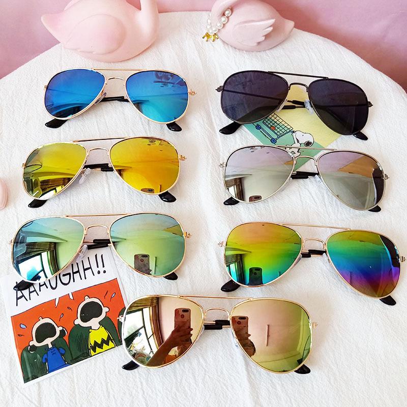 Kids Hipster Aviators Color Reflection Fashion Sunglasses