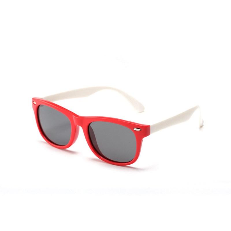 Kids UV Protection TPEE Rubber Polarized Sunglasses White Frame