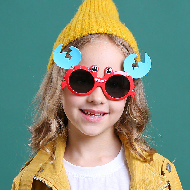 Kids Boys & Girls 3D Crab Shaped Silicone Sunglasses