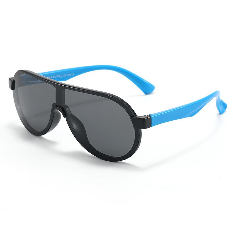 Kids Sport Shield UV Protection TPEE Rubber Polarized Sunglasses Blue Frame