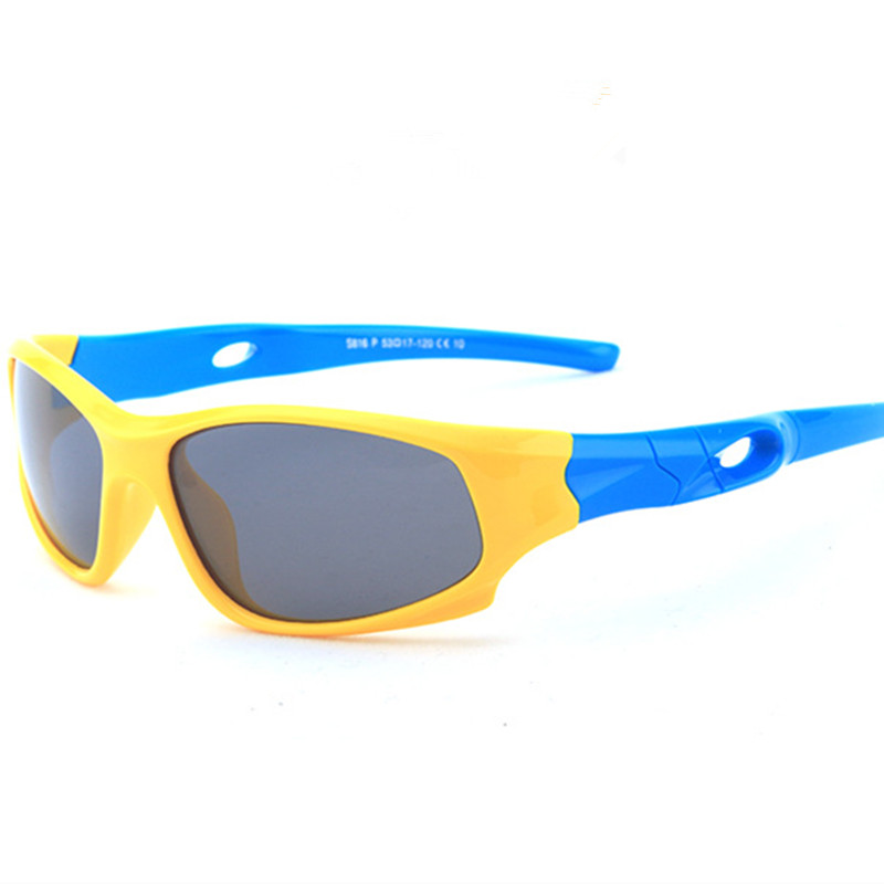 Kids UV Protection TPEE Rubber Polarized Light Silicone Sunglasses Blue Frame