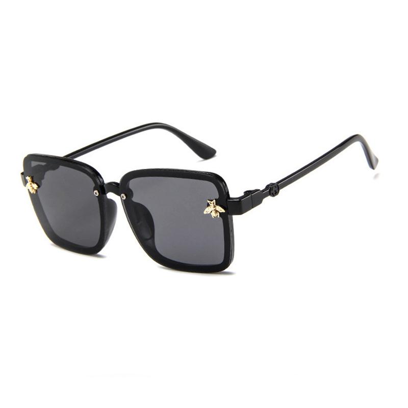 Kids Square Bee Glasses Anti-UV Protection Fashion Sunglasses Black Frame