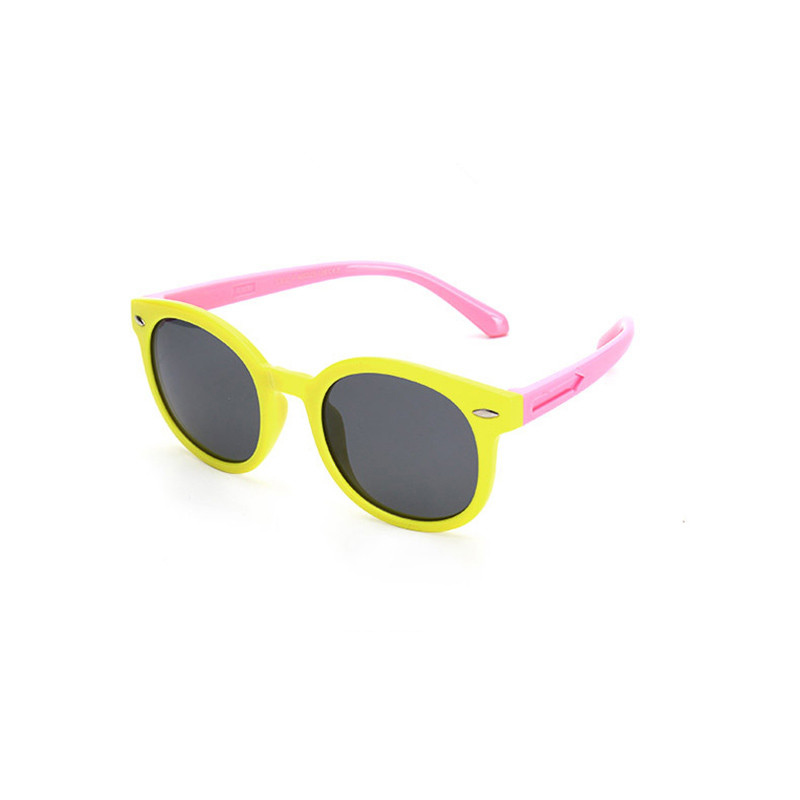 Kids Boys & Girls Tinted Glasses Silicone Sunglasses Pink Frame