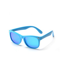 Kids UV Protection TPEE Rubber Polarized Light Tinted Silicone Sunglasses Blue Frame