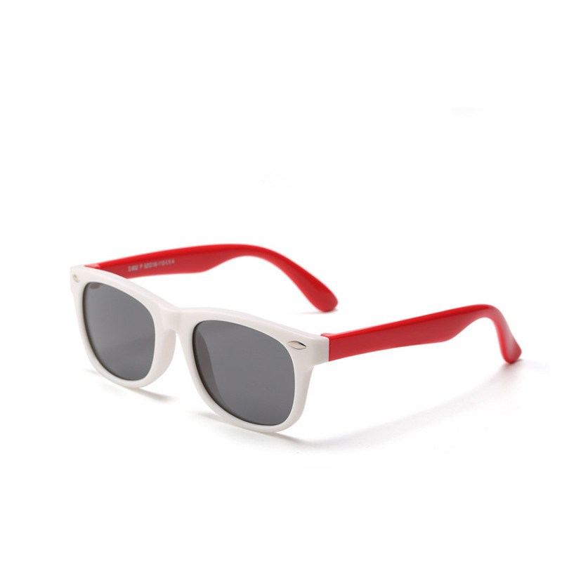 Kids UV Protection TPEE Rubber Polarized Sunglasses Red Frame