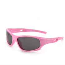 Kids UV Protection TPEE Rubber Polarized Light Silicone Sunglasses Pink Frame
