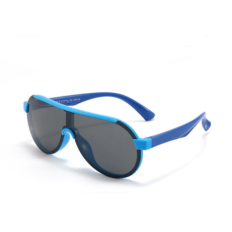 Kids Sport Shield UV Protection TPEE Rubber Polarized Sunglasses Dark Blue Frame
