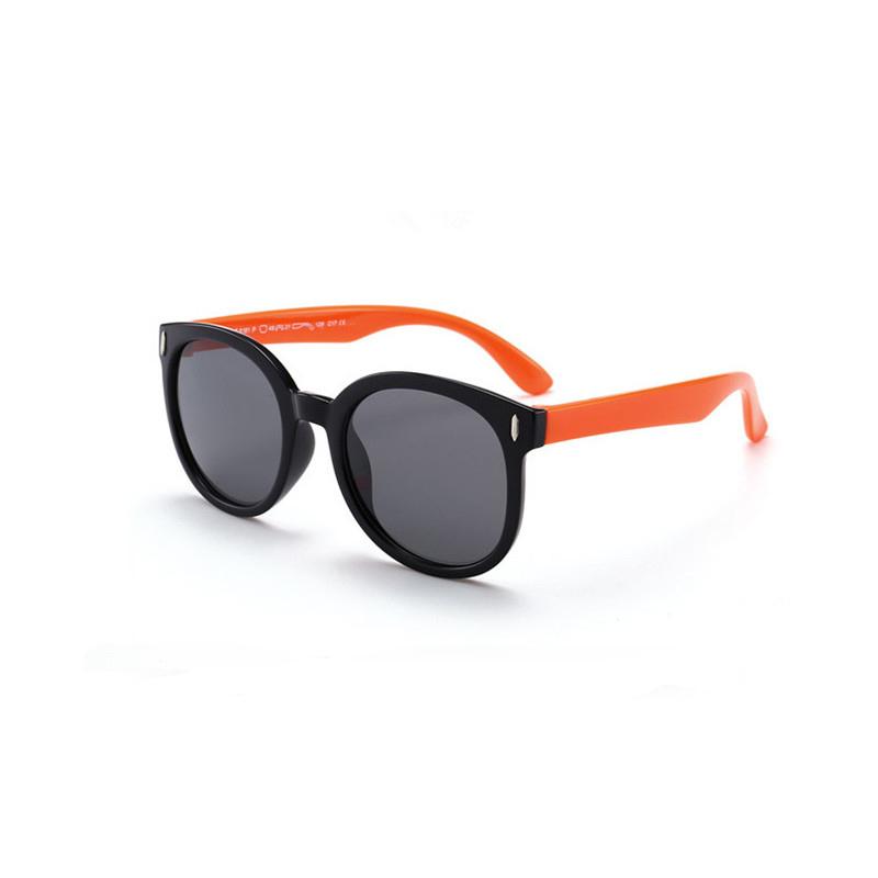 Kids Boys & Girls Tinted Glasses Silicone Sunglasses Orange Frame