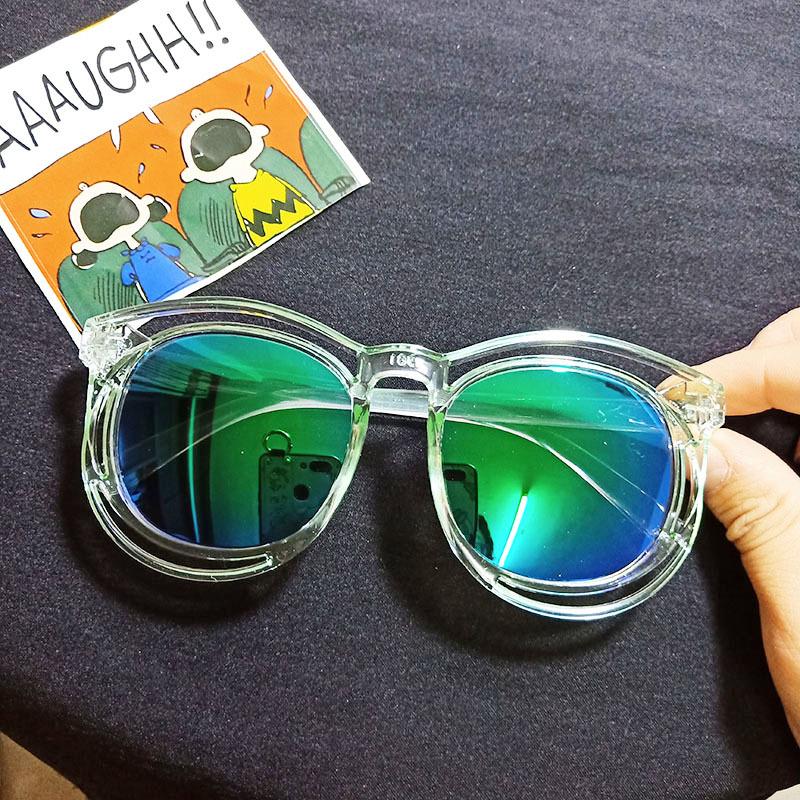 Kids Color Film Anti-UV Protection Fashion Sunglasses Green Frame