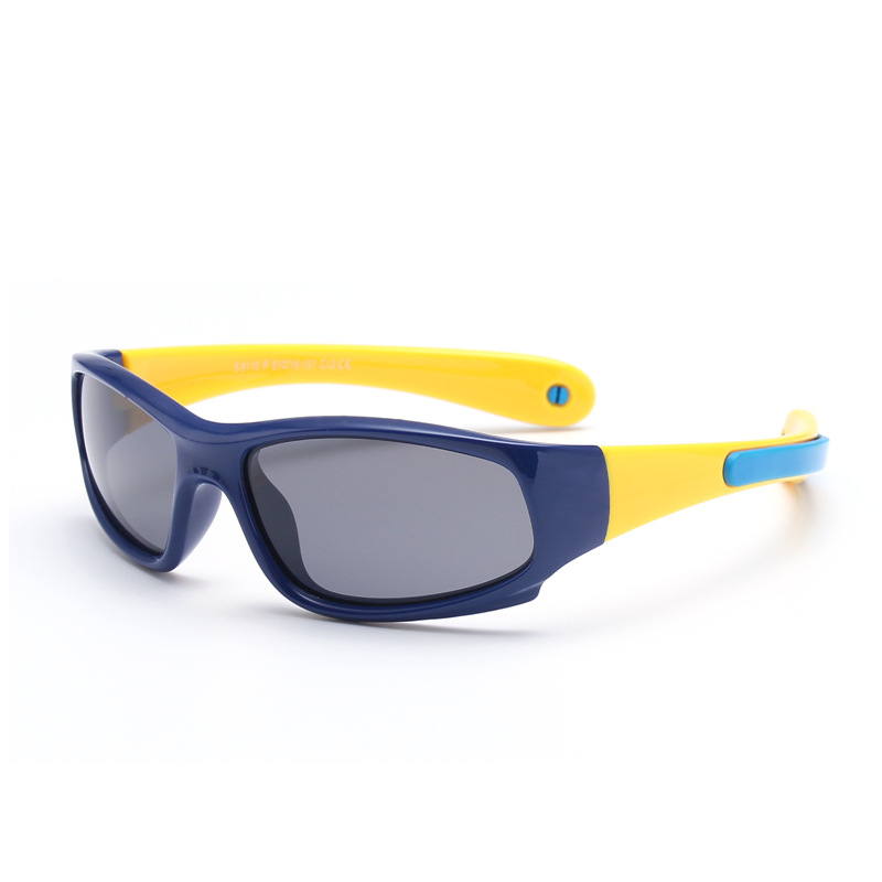 Kids Riding Sports Polarized Light Silicone Sunglasses Yellow Frame