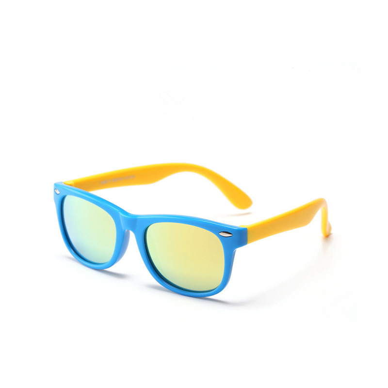 Kids Boys & Girls UV Protection Tinted Silicone Sunglasses Yellow Frame