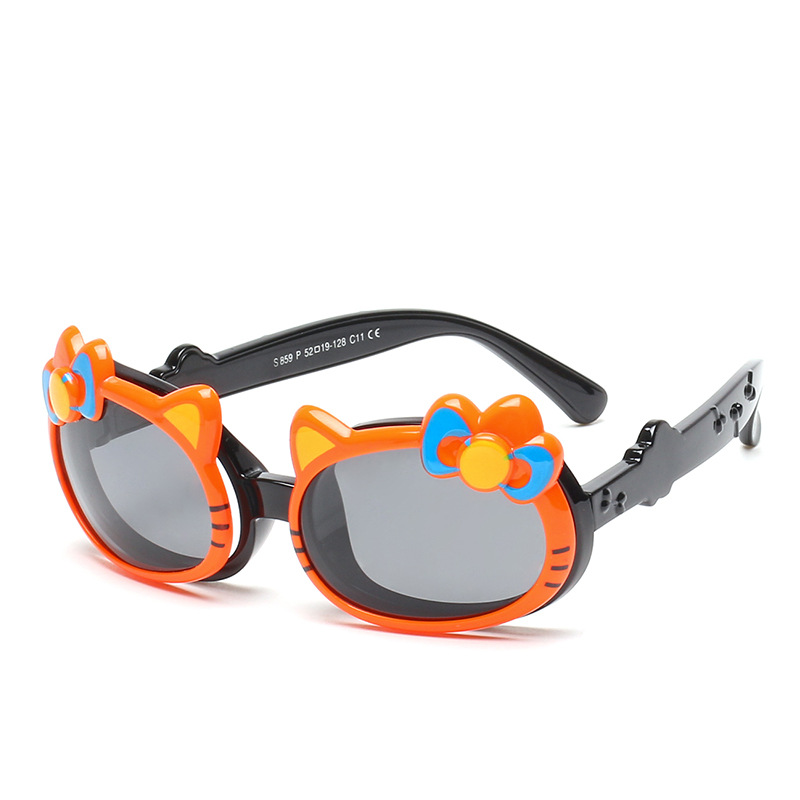 Kids Hello Kitty UV Protection Silicone Fashion Sunglasses Macthing Color Frame