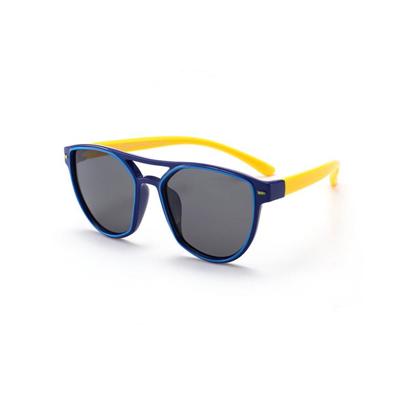 Kids Diamond Shape Silicone Sunglasses Yellow Frame