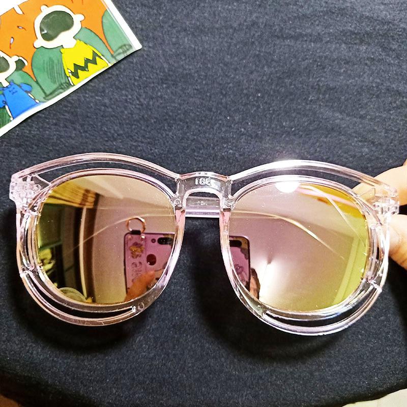 Kids Color Film Anti-UV Protection Fashion Sunglasses Pink Frame