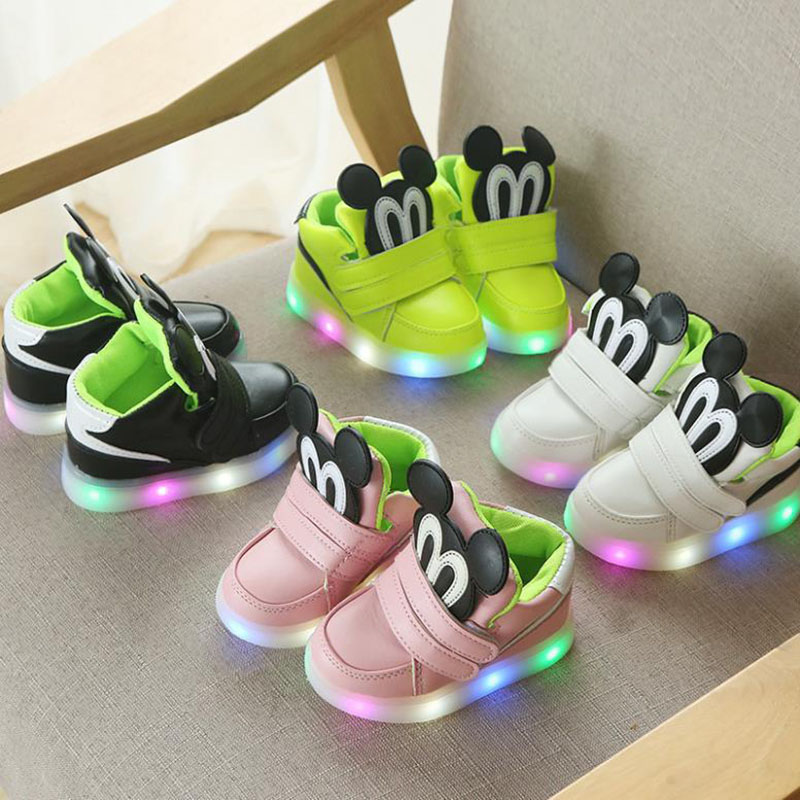 Toddler Kids LED Light Shining Mickey Sneakers Flat Shoes