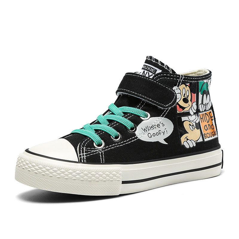 Kids Prints Mickey Lace up Flat Slip On Canvas Soles
