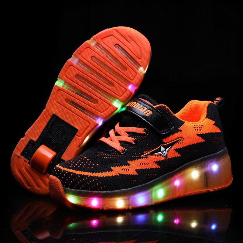 Kids LED Light USB Charging Roller Skates Single Wheel Mesh Sneakers Shoes for Girls Boys