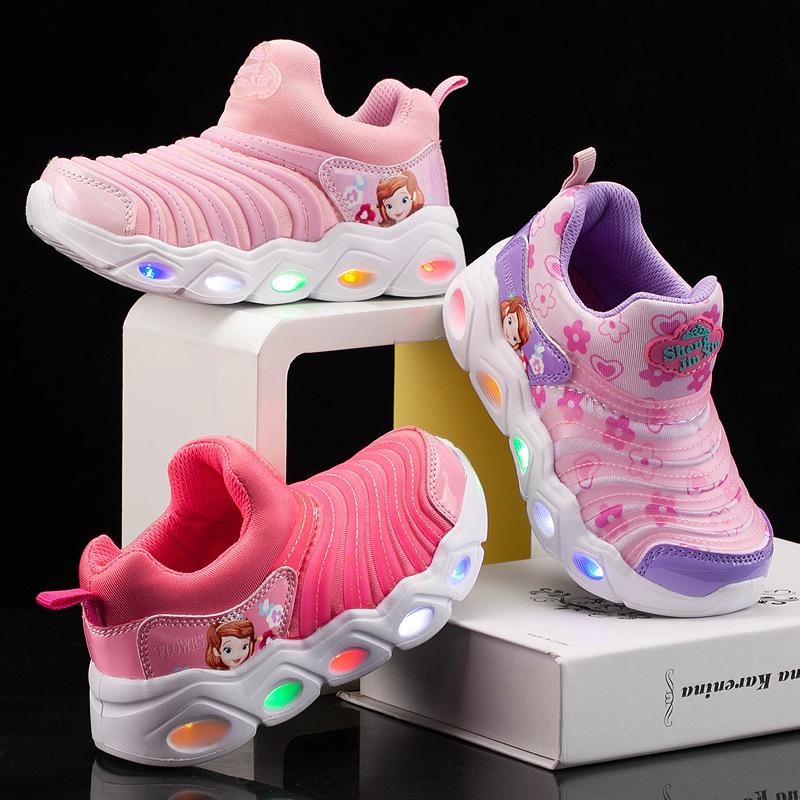 Kids LED Light Princess Sofia Breathable Sports Slip On Sneakers Shoes