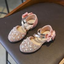 Kid Girl Crystal Diamond Pearls Bowknot Sandal Wedding Dress Shoes