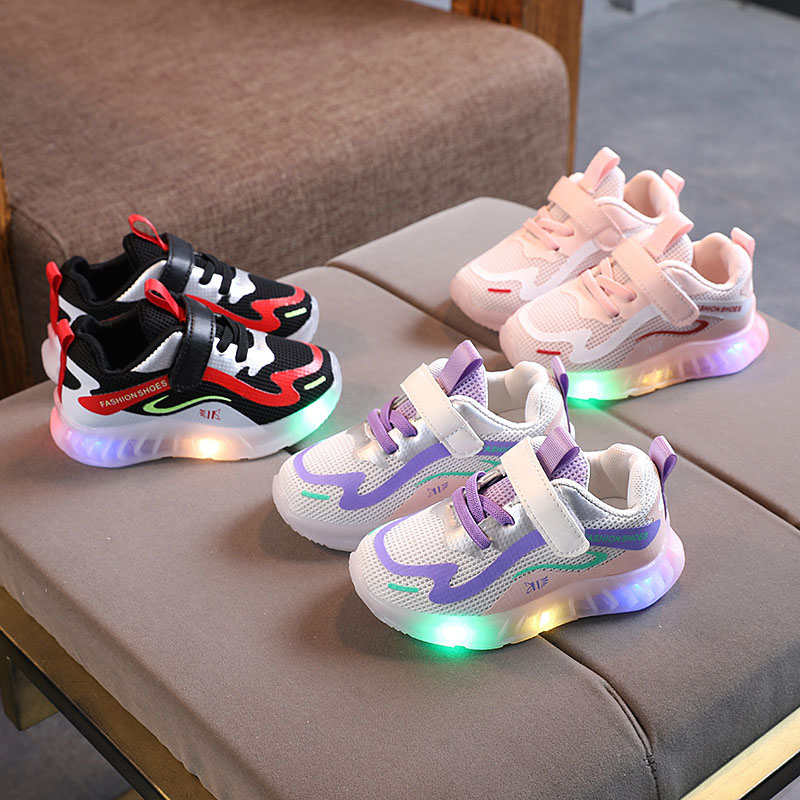 Toddler Kid LED Light Macthing Color Mesh Breathable Sneakers Shoes