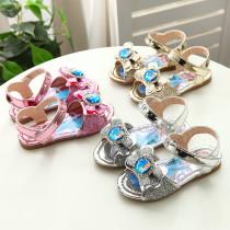 Kid Girl Frozen Princess Sequins Shining Sandals Flat Shoes