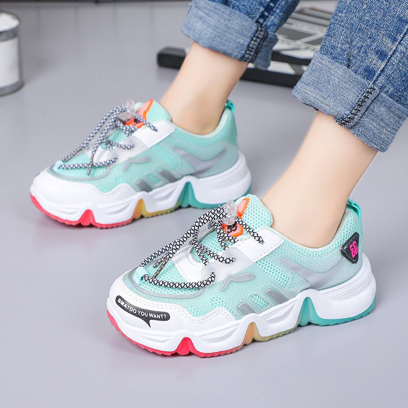 Kids Lace Up Mesh Breathable Running Travel Sports Sneakers Slip On Shoes