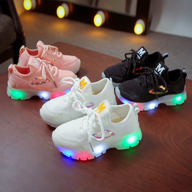 Toddler Kid LED Light Sequins Mesh Breathable Sneakers Shoes