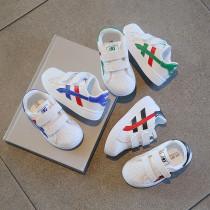 Toddler Kids Velcro Slip On White Striped Sneakers Shoes