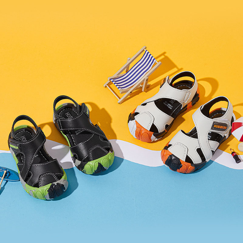 Kid Boy Hollow Out Cross Over Leather Sandal Beach Shoes