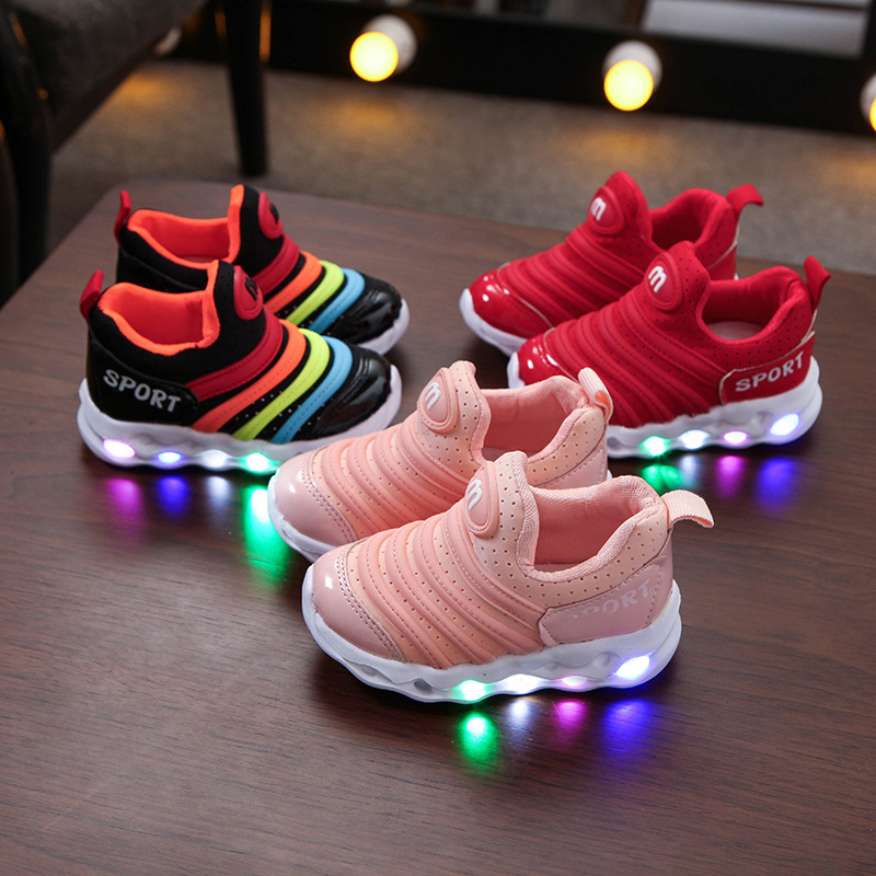 Toddler Kids LED Light Breathable Slip on Sports Sneakers Shoes