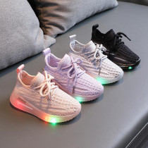 Kids LED Light Shining Net Mesh Breathed Running Sport Sneakers Shoes