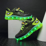 Kid USB Charging LED Light Spider Man Sports Mesh Breathable Sneakers Shoes For Boys Girls
