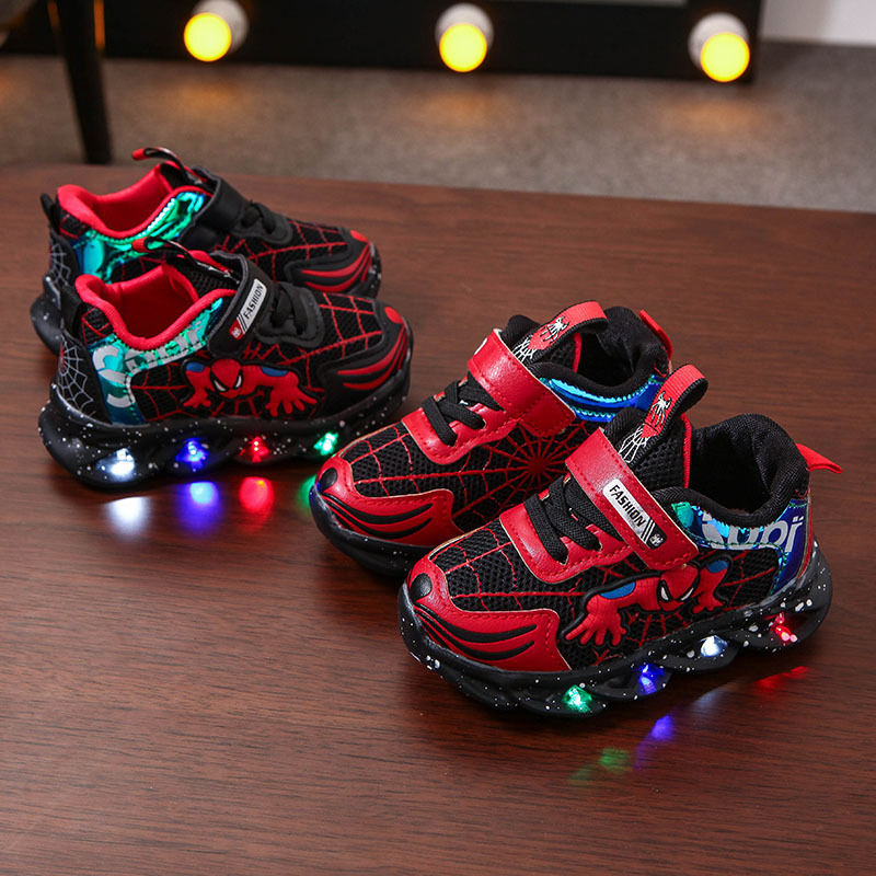 Toddler Kid Boy LED Light Spider Man Mesh Net Breathable Sports Sneakers Shoes