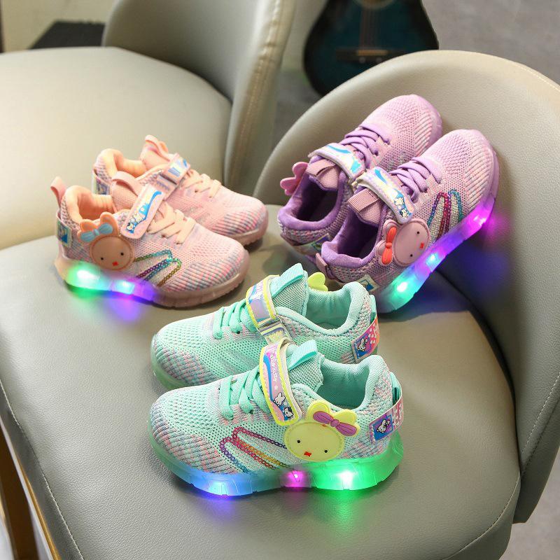 Toddler Kid Girl Rabbit LED Light Sequins Mesh Breathable Sneakers Shoes