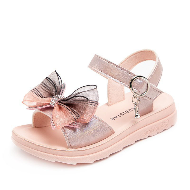 Girl Mesh Bowknot Peep-Toe Zircon Lightweight Sandals Shoes