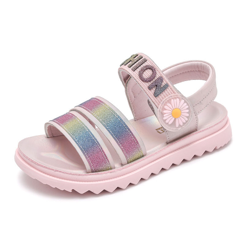 Kid Girl Sequins Rainbow Letters Sandals Sheos