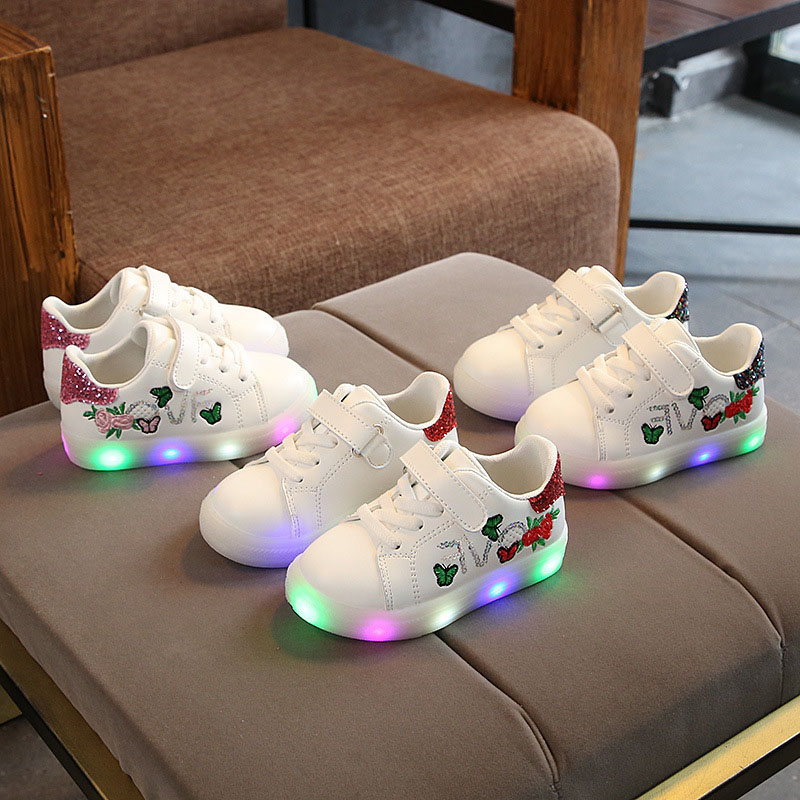 LED Light Kids Shoes Sequins Embroidery Flowers Sport Sneakers Shoes