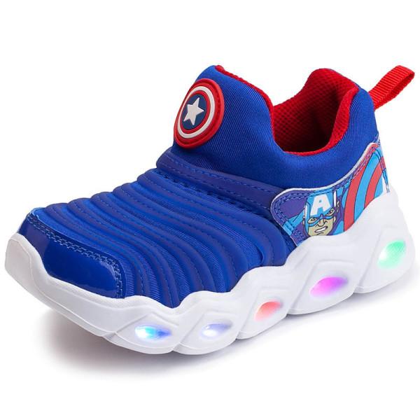 Kids LED Light Marvel Captain America Iron Man Breathable Sports Slip On Sneakers Shoes