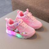 Kids Girl LED Light Shining Hello Kitty Net Mesh Breathed Running Sport Sneakers Shoes